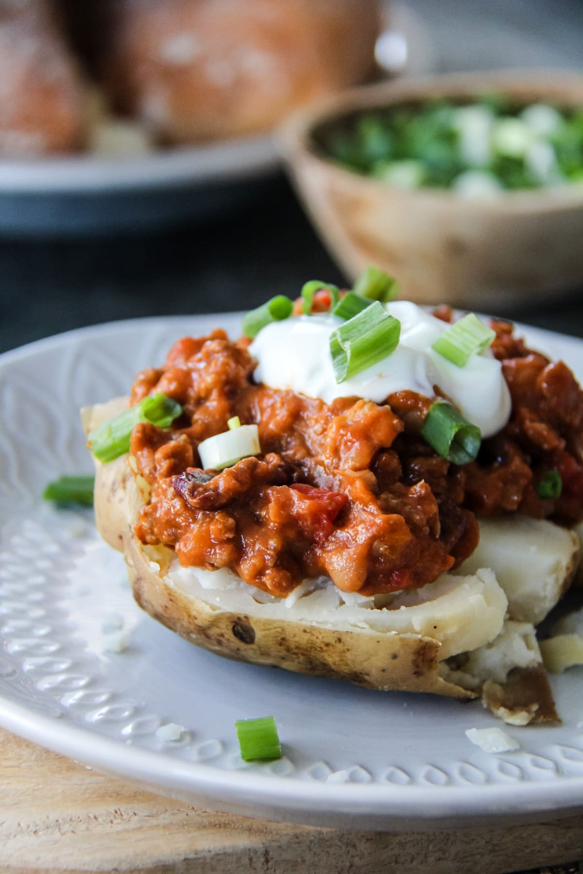 Beef Chili and Baked Potatoes