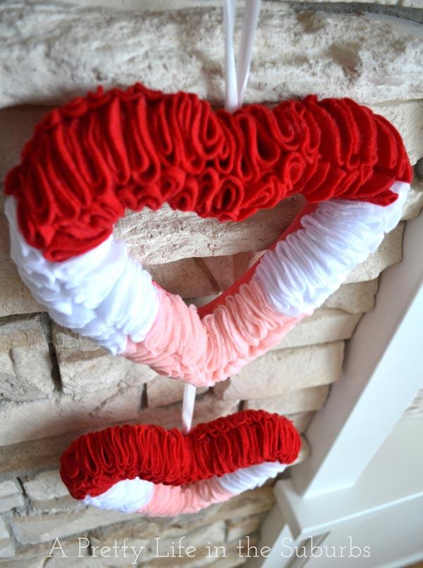 Felt Valentine's Day Heart Wreath