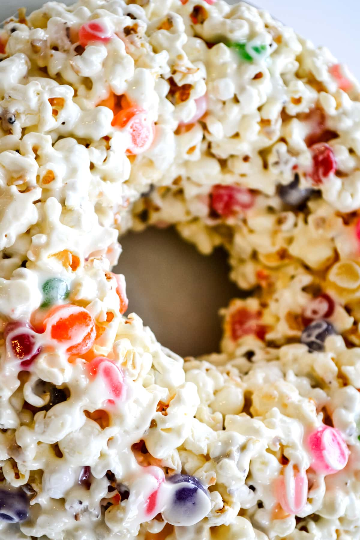Popcorn Marshmallow Cake with Candy