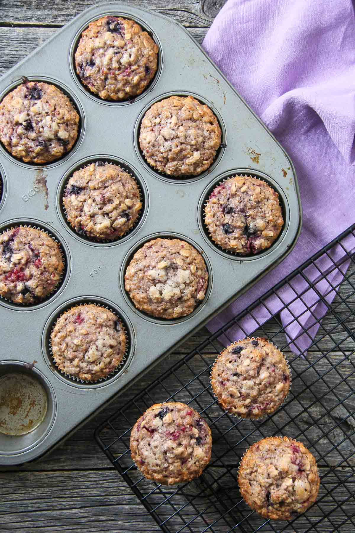 Banana Berry Bomb Muffins {A Pretty Life}