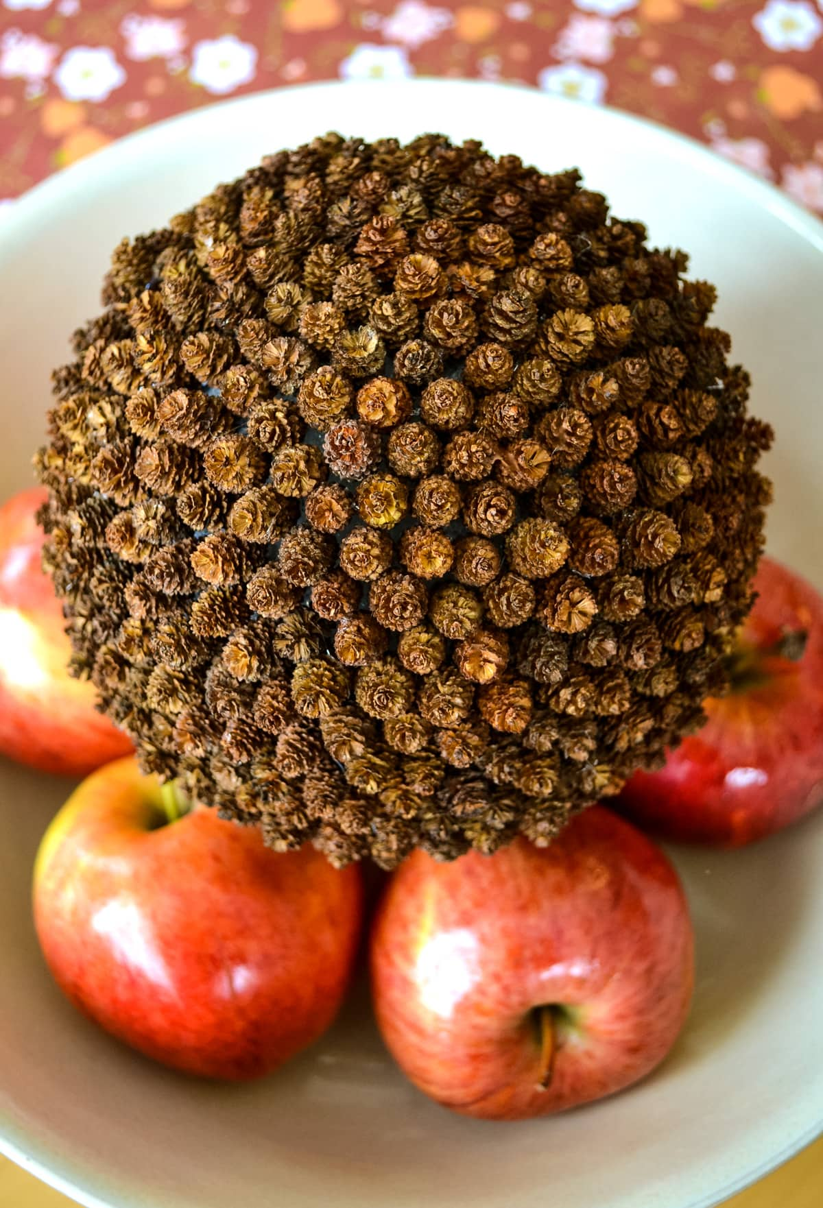 A Teeny Tiny Pine Cone Pomander in a bowl of apples