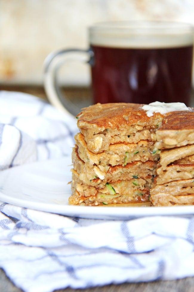 Zucchini Bread Pancakes {A Pretty Life}4