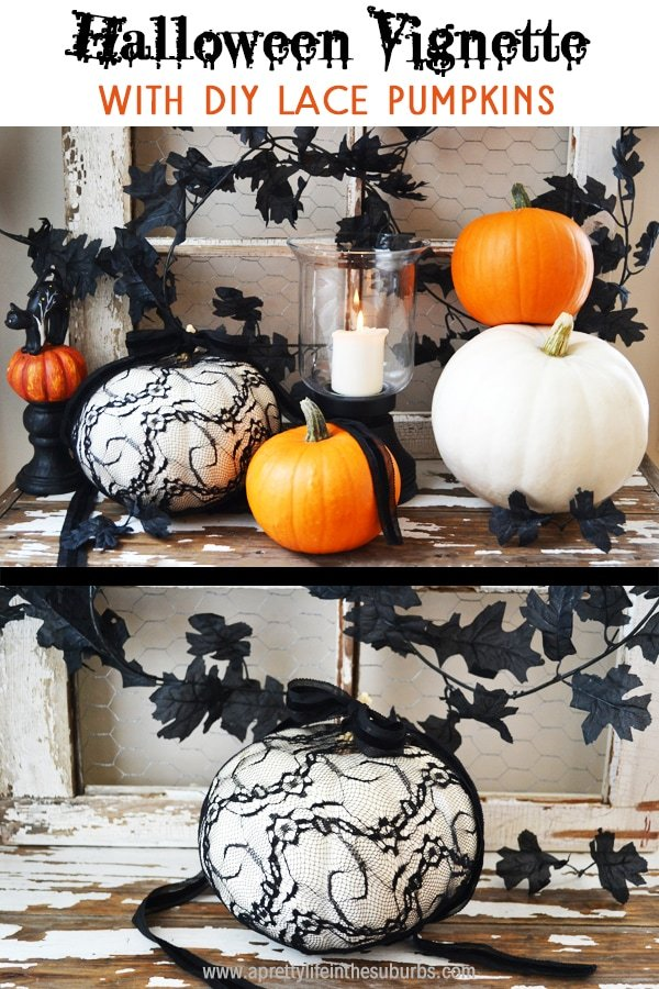 Halloween Vignette with DIY Lace Pumpkins