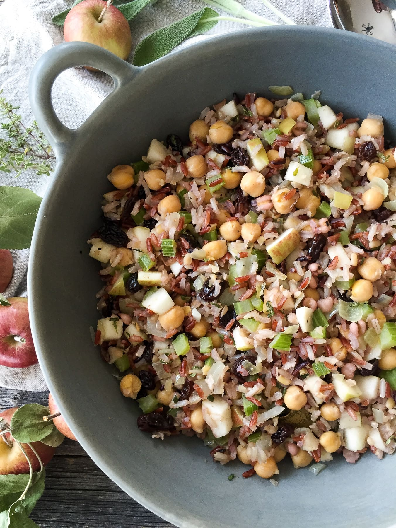 Wild Rice Stuffing with Raisins and Apples