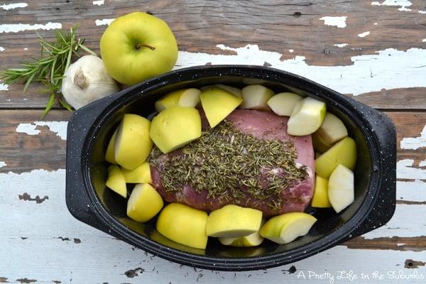 Garlic & Rosemary Roasted Pork {A Pretty Life}