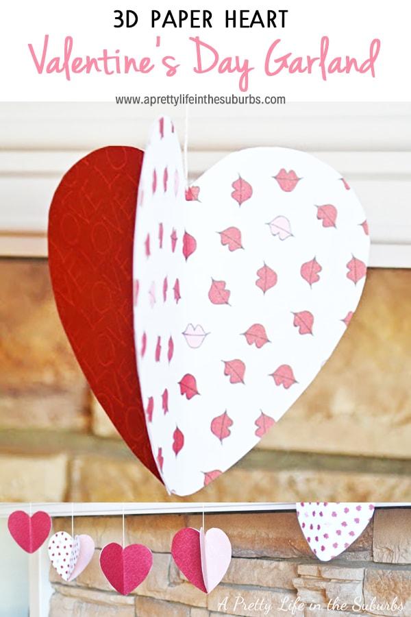 3D Paper Heart Valentine's Day Garland