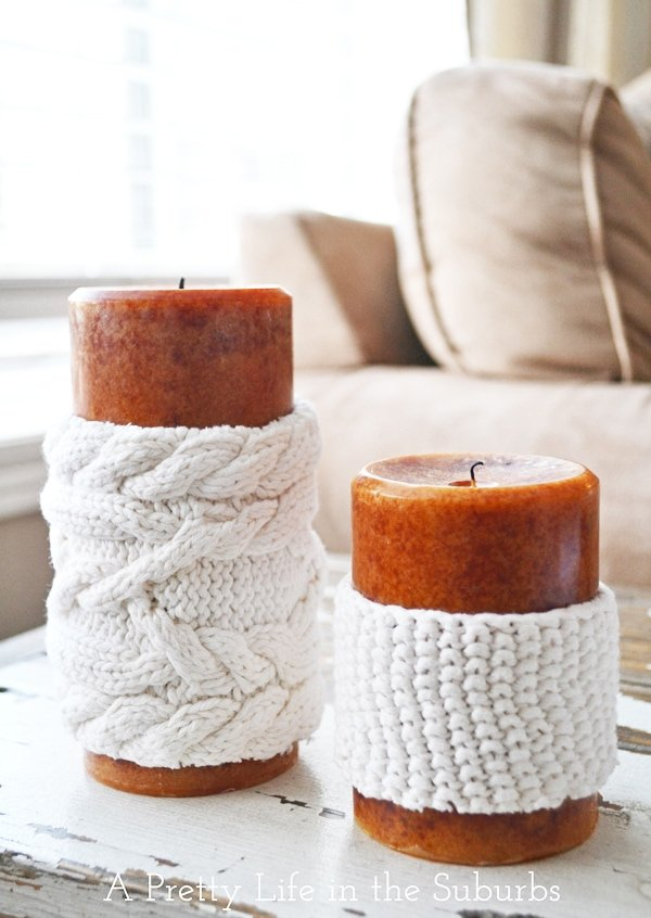 Easy DIY Sweater Candles