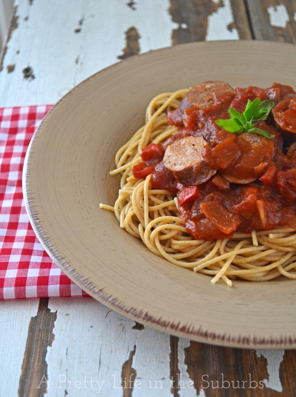 Tomato & Red Pepper Pasta with Italian Sausages