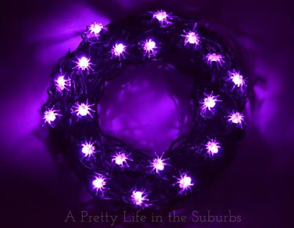 Spider Light Wreath for Halloween
