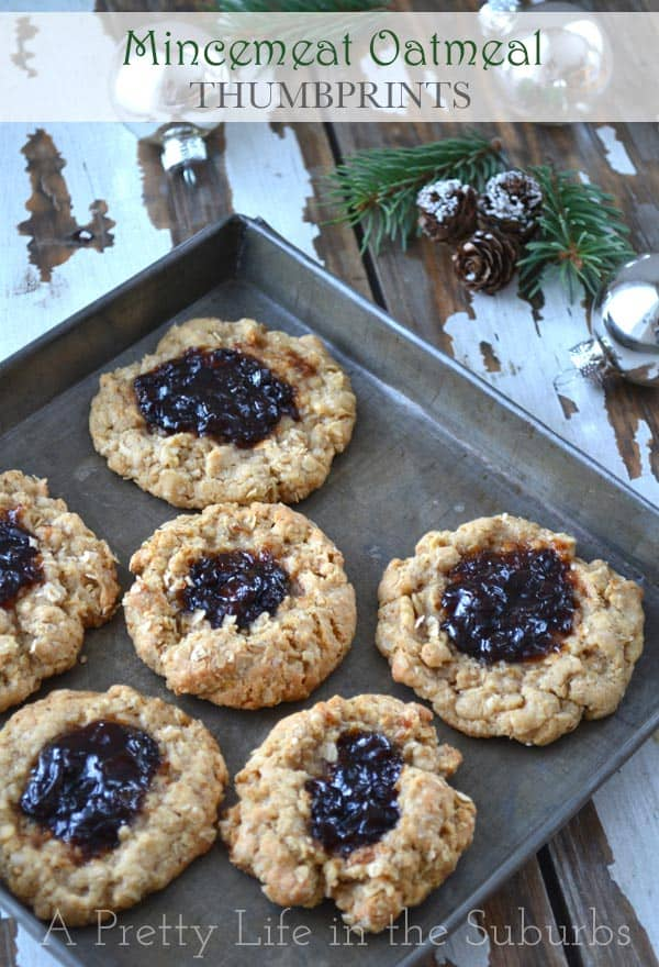 Mincemeat Oatmeal Thumbprint Cookies