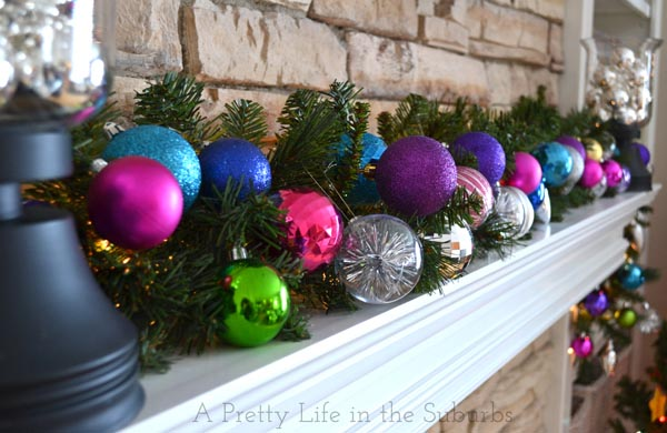 Colourful and Bright Christmas Mantel
