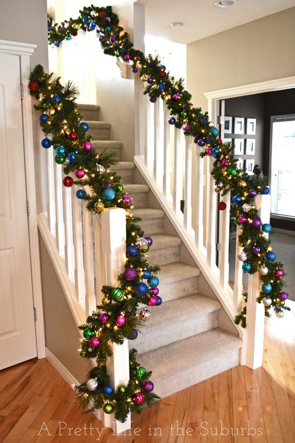 My holiday home a pretty life in the suburbs - Christmas decorations for stair rail ...