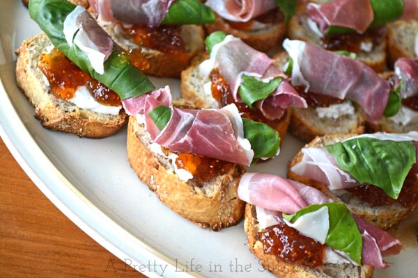 Prosciutto, Basil, Fig Jam & Goat Cheese Crostinis - A Pretty Life In ...