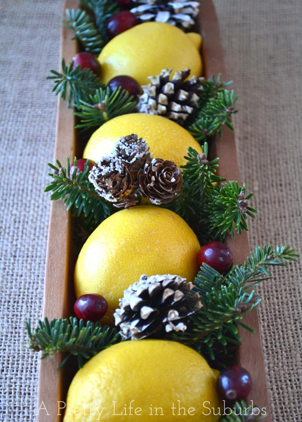 Lemon Christmas Centrepieces {A Pretty Life}