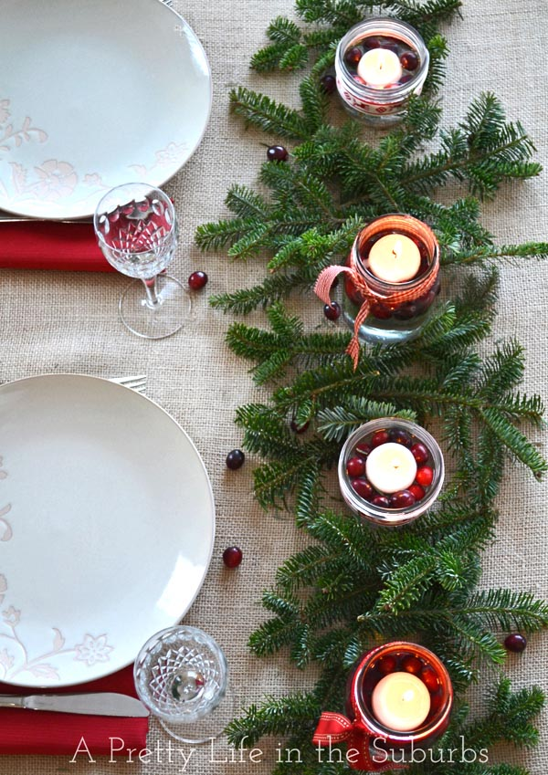 DIY Mason Jar Christmas Centrepieces {A Pretty Life}
