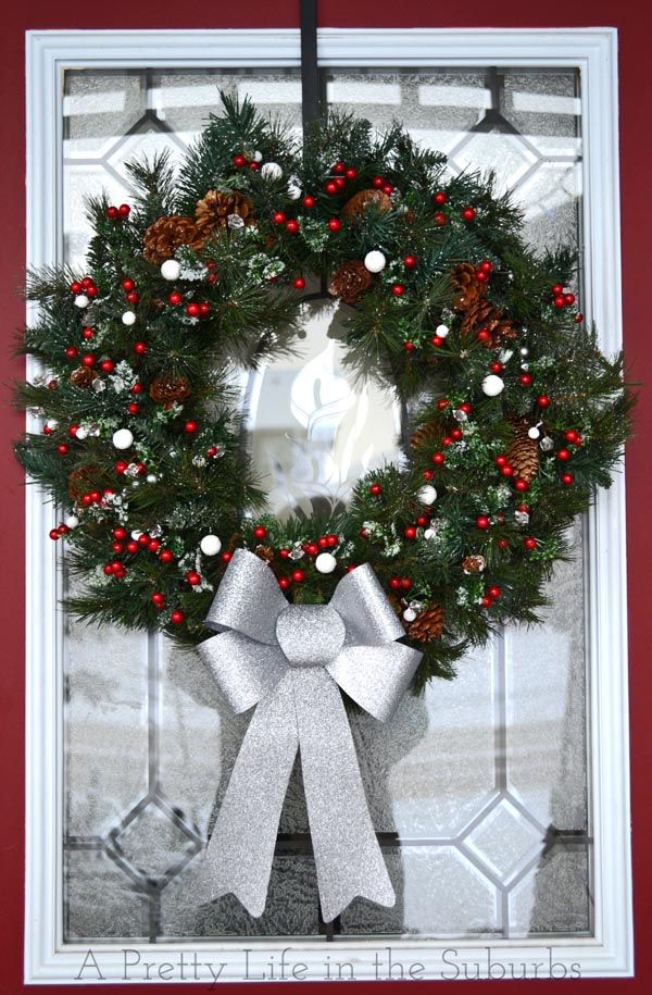 DIY Red and Green Evergreen Christmas Wreath