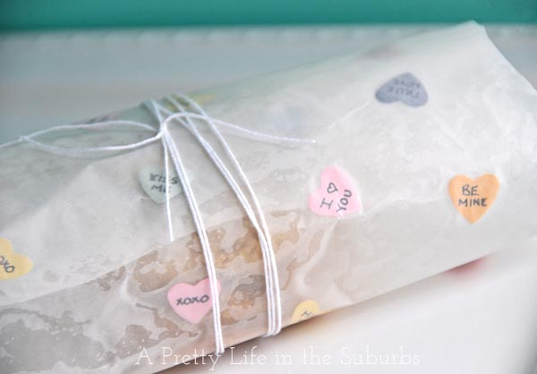 DIY Conversation Heart Wax Paper Wrapping for cookies and treats!