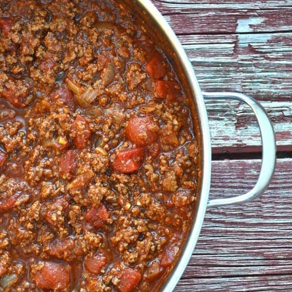 A pan full of Homemade Tomato and Meat Sauce