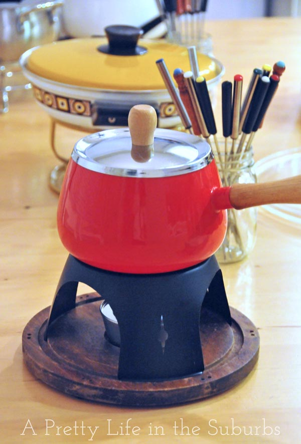 1970's fondue pots and forks