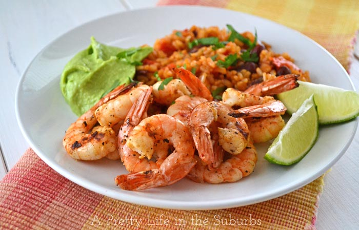 Grilled Shrimp with Avocado Butter and Spanish Rice