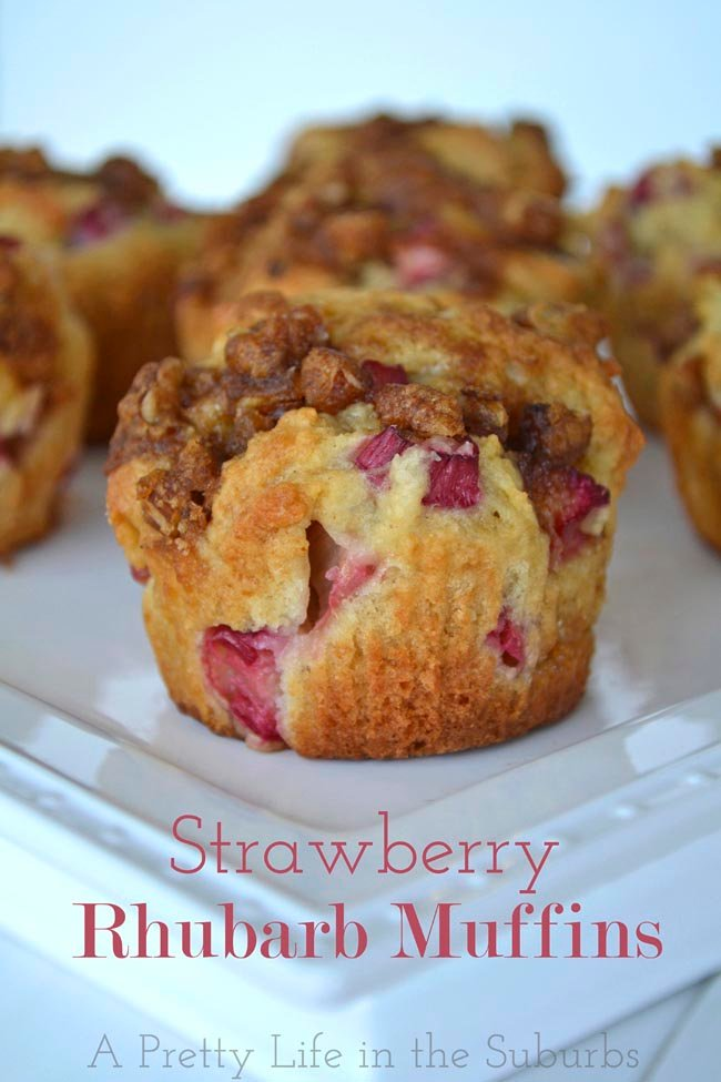 Strawberry Rhubarb Muffins - A Pretty Life In The Suburbs