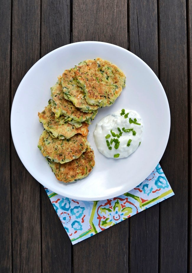 Zucchini Fritters with Tzatziki Sauce  {A Pretty Life}