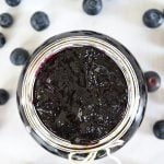 A top down view of a pot of Blueberry Jam