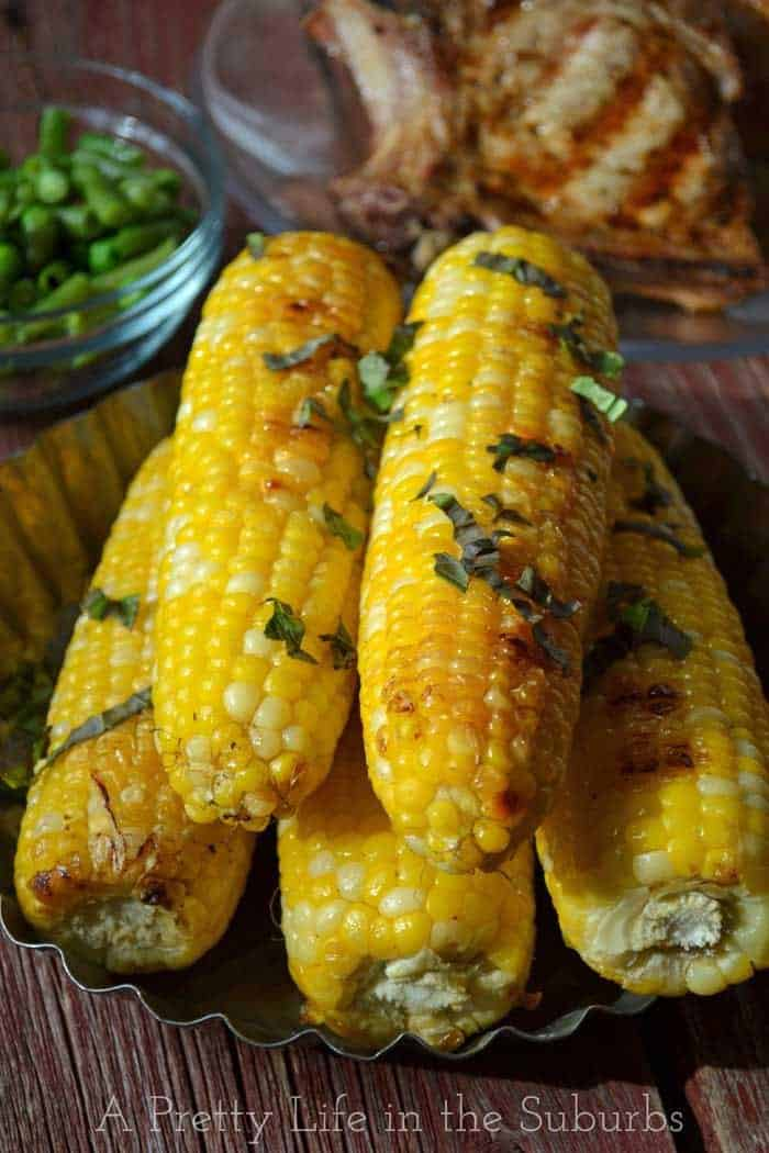 Basil-Butter-Roasted-Corn-on-the-Cob-{A-Pretty-Life}