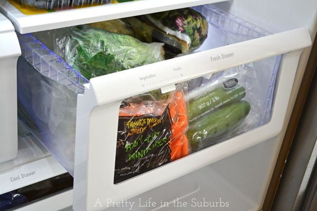 Fresh Veggie Snack Drawer {A Pretty Life}