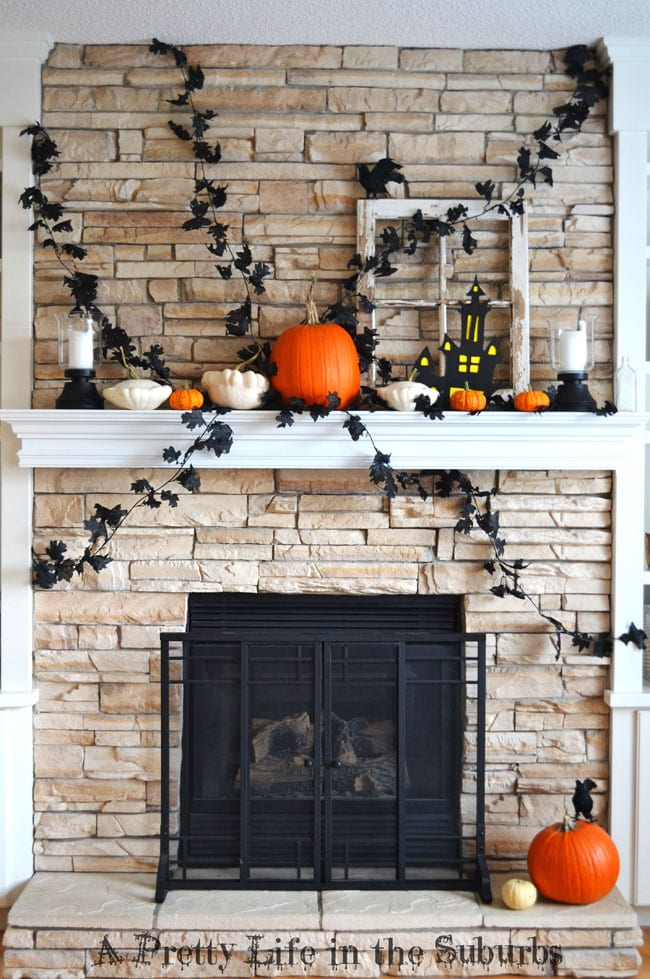 Black, Orange & White Halloween Mantel {A Pretty Life}