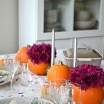 Pretty Pumpkin Flower and Pumpkin Fall Tablescape