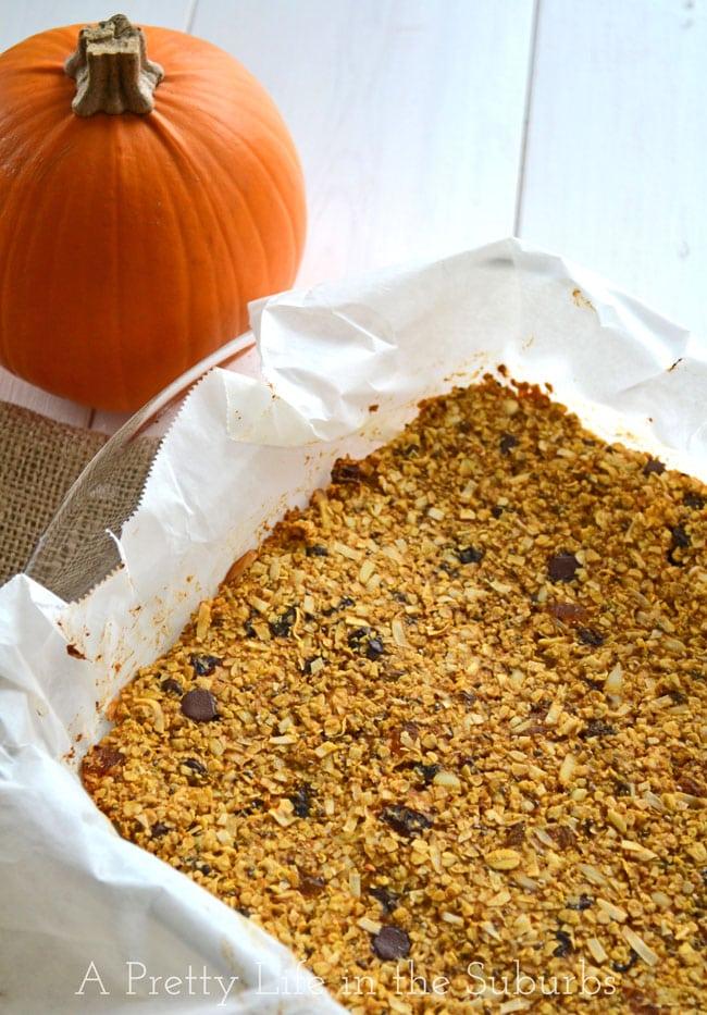 Pumpkin Spice Granola Bars {A Pretty Life}