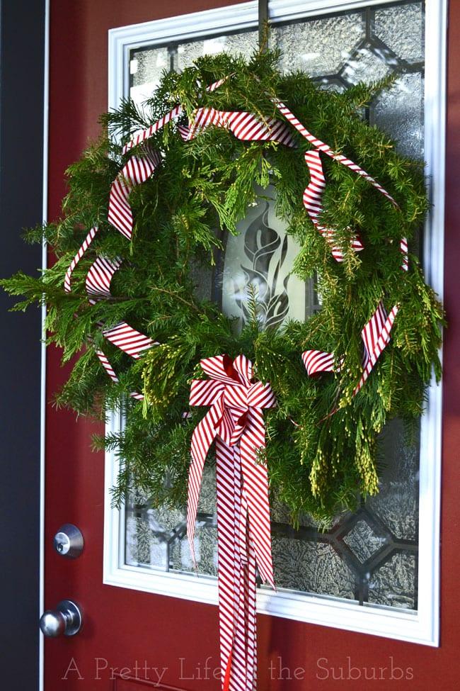 Fresh Evergreen Wreath Tutorial {A Pretty Life}