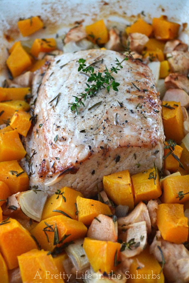 Roasted Pork with Brown Sugar & Rosemary Roasted Butternut Squash & Apples {A Pretty Life}