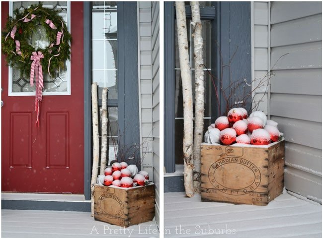 Red and Silver Christmas Porch