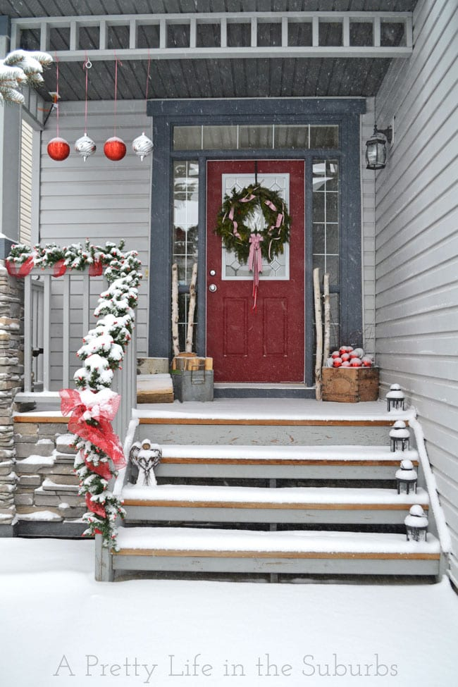 Wintery Red and Silver Front Porch
