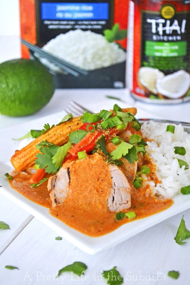 Coconut Red Curry Crockpot Pork Tenderloin {A Pretty Life}