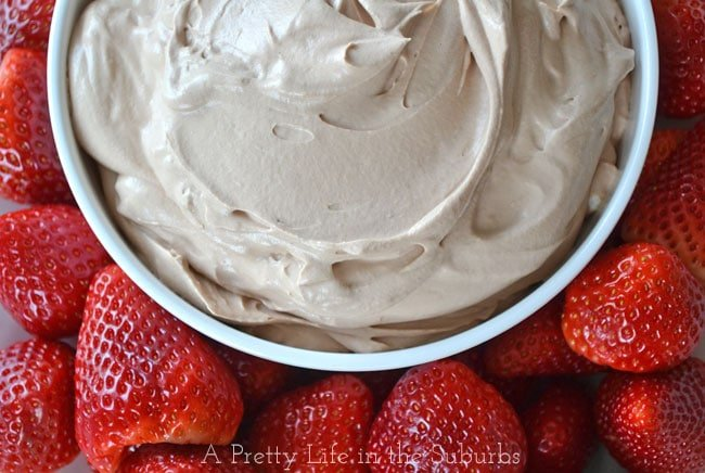 3 Ingredient Chocolate Marshmallow Fluff Dip {A Pretty Life}