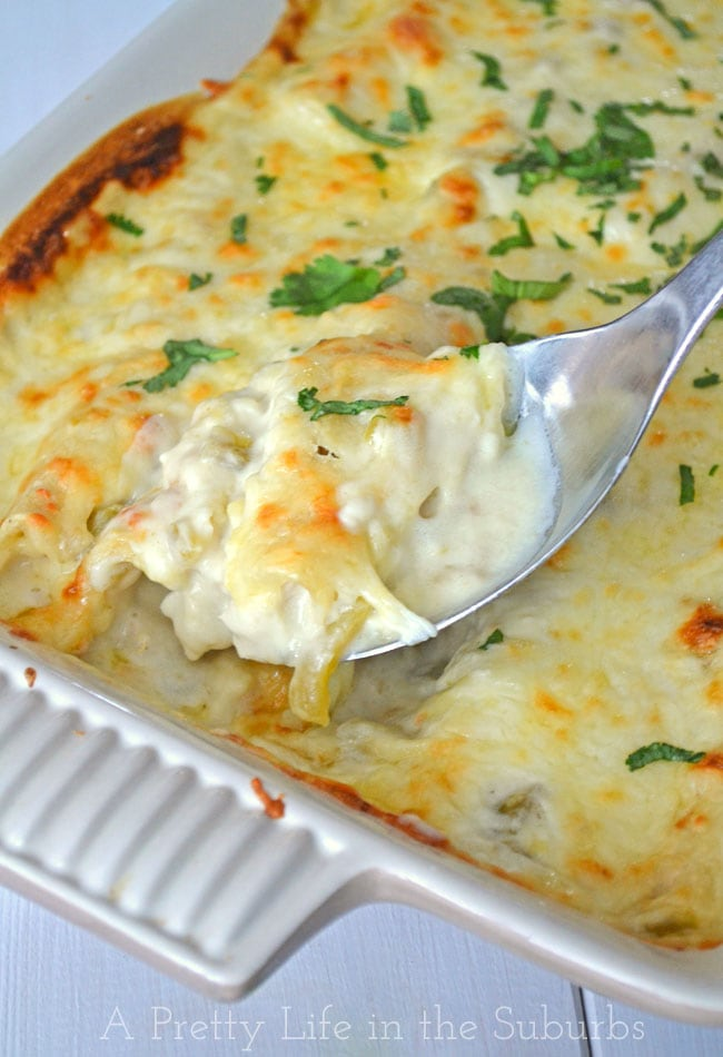 Creamy Chicken & Green Chili Enchiladas