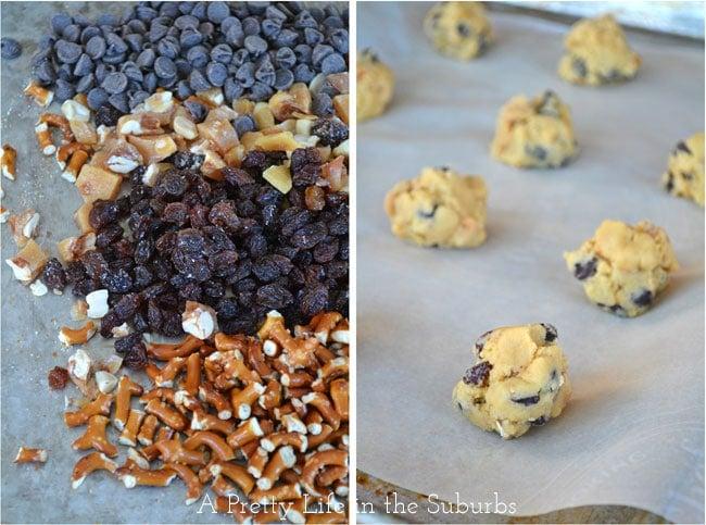 Peanut Brittle & Pretzel Chocolate Chip Cookies {A Pretty Life}