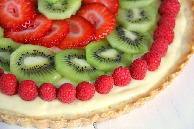 Lemon Cream Fruit Tart with a Shortbread Cookie Crust {A Pretty Life}