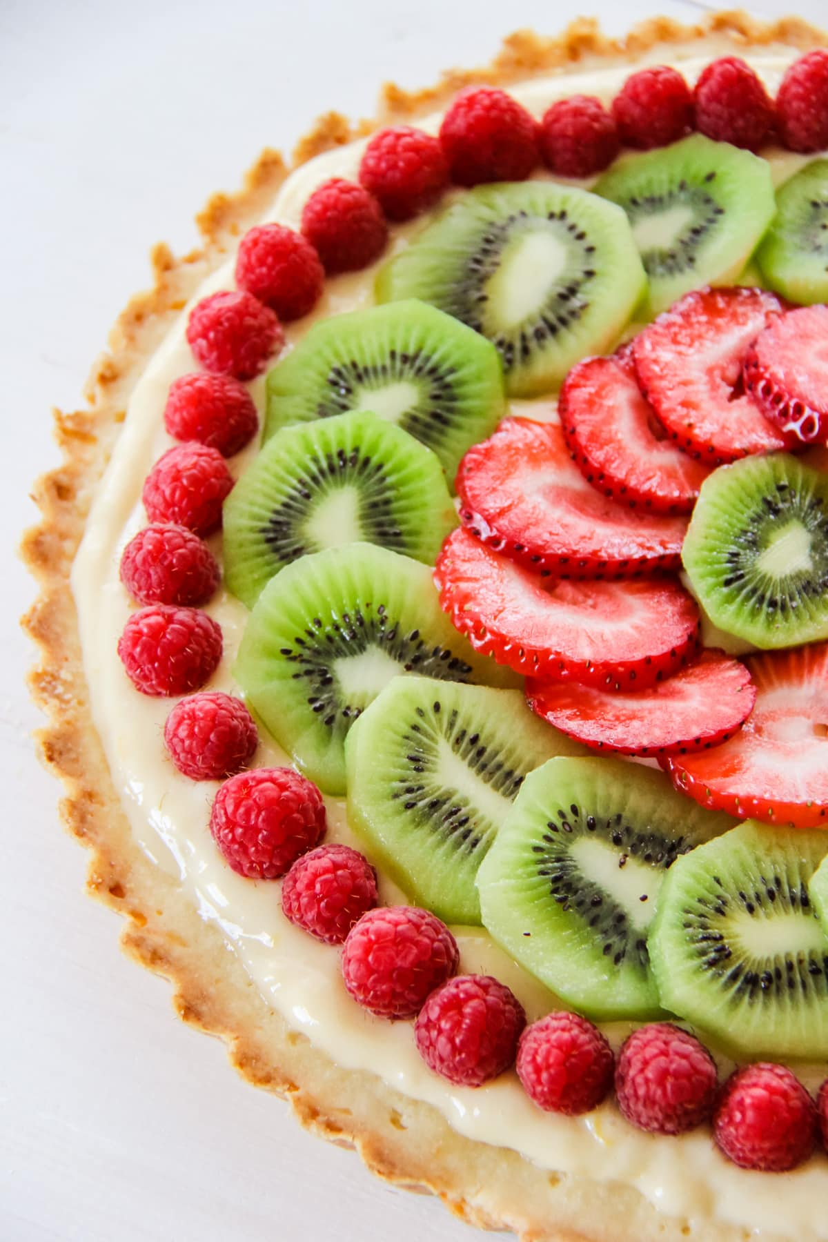 Lemon Cream Fruit Tart with a Shortbread Cookie Crust
