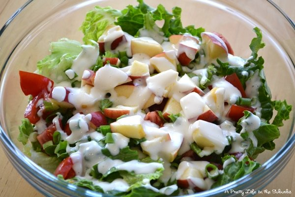 Simple Green Salad With Homemade Mayo Dressing A Pretty Life In The Suburbs