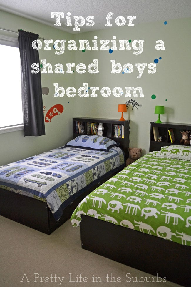Tips for organizing a shared boys bedroom {A Pretty Life}