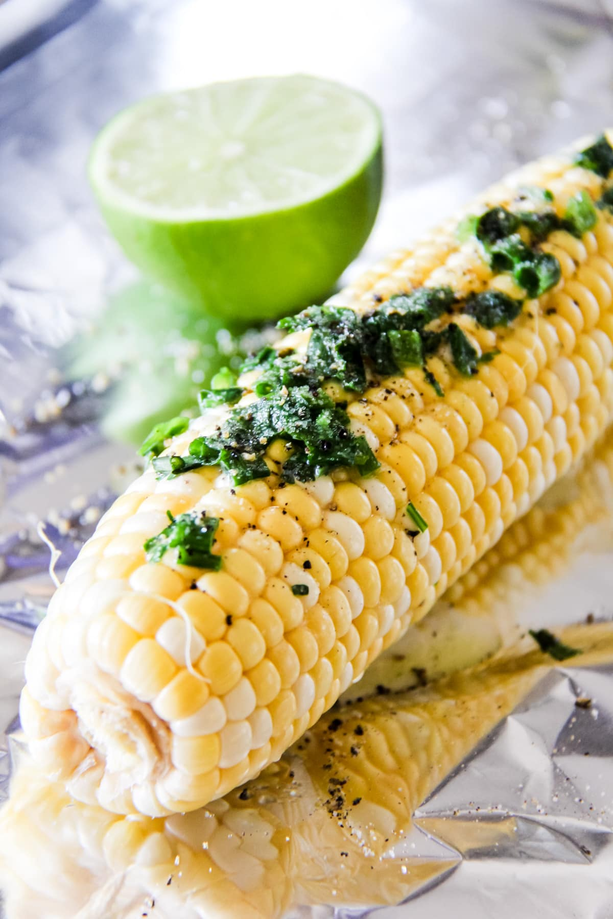 Grilled Corn on the Cob with Cilantro Butter and Lime