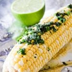 Corn on the Cob with Cilantro Butter and Lime