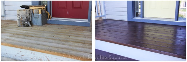 Front Porch Floor Before & After {A Pretty Life}
