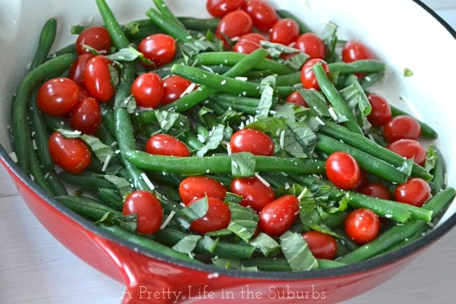 Sauteed Green Beans with Basil & Fresh Tomatoes {A Pretty Life}