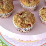 Strawberry-Rhubarb-Oatmeal-Muffins-{A-Pretty-Life}