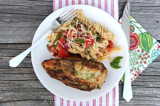 Pesto Grilled Chicken with Fresh Tomato Pasta {A Pretty Life}